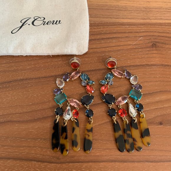 J.Crew Crystal and Tortoise Statement Earrings